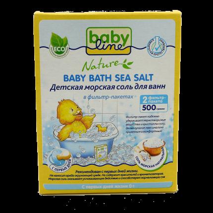 Детская морская соль для ванн Babyline Nature, 4x500 г