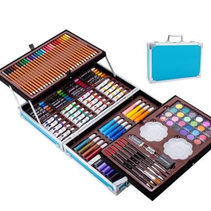 Набор для рисования и творчества 145 предметов в чемоданчике (голубой)