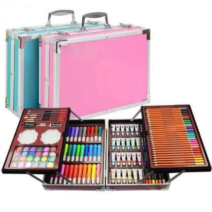 Набор для рисования и творчества 145 предметов в чемоданчике (розовый)