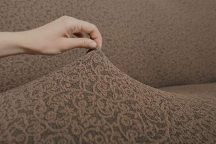 "Комплект чехлов на диван и кресла ""Жаккард"" Venera, коричневый, 3 предмета"