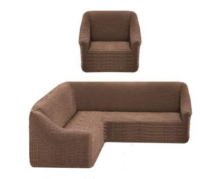 Комплект стрейч чехлов КУПК-2 без оборки на угл.диван и кресло 211 Капучино Tas
