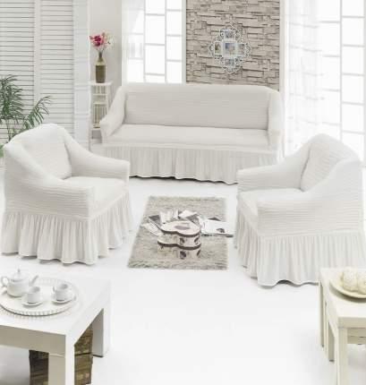Набор чехлов 3-х местный диван+2 кресла, кремовый в серую полоску N901