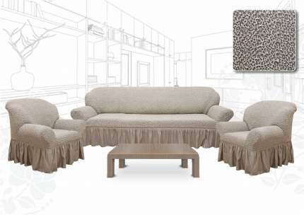 Набор текстильный для дома Престиж. Капли, Евро, чехлы на диван, 2 кресла ваниль
