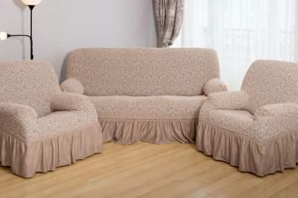 Чехлы на диван и 2 кресла Престиж-цветы, капучино