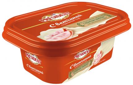Сыр President плавленый с ветчиной 45%, 400 г БЗМЖ