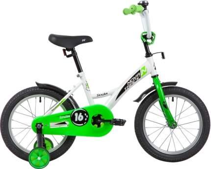 """Велосипед NOVATRACK 16"""" STRIKE белый-зелёный, полная защита цепи"""