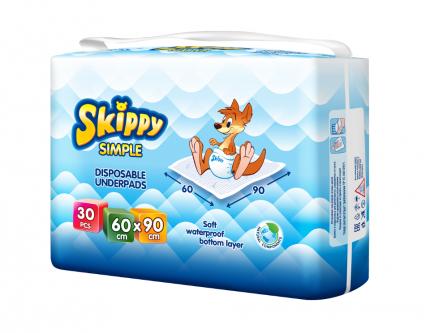 Пеленки детские гигиенические впитывающие Skippy Simple, р-р 60x90, 30 шт, 8034