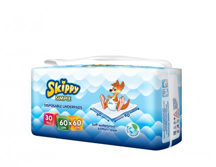 Пеленки детские гигиенические впитывающие Skippy Simple, р-р 60x60, 30 шт, 8033