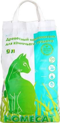 Впитывающий наполнитель для кошек HOMECAT древесный, 9 кг, 9 л