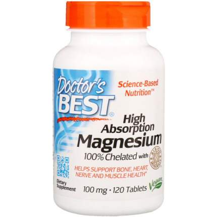 Doctor's Best High Absorption Magnesium 100% Chelated, 120 таб., хелат магния