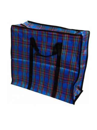 Тканевая хозяйственная сумка на молнии, 40х60х20 см (Цвет: Синий )