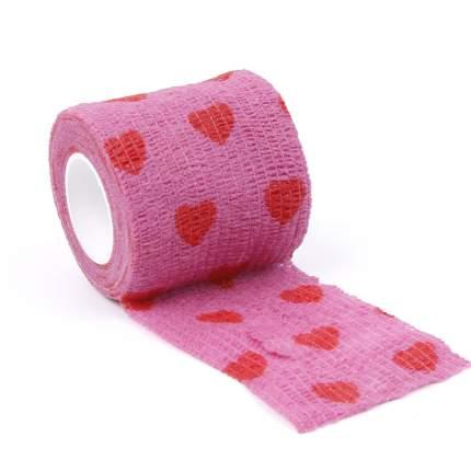 Ветеринарный эластичный бинт Show Tech 7,5см х 4,5м, розовый с сердечками