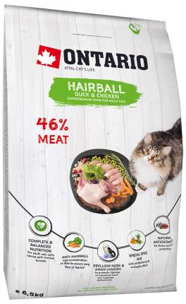 Сухой корм для кошек Ontario hairball, утка, курица,  6.5кг