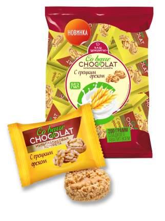Конфеты Co barre de Chocolat мультизлаковые с грецким орехом с белой глазурью 200 гр