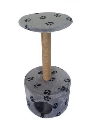 Комплекс для кошек Пушок, светло-серый с лапками, 2 уровня