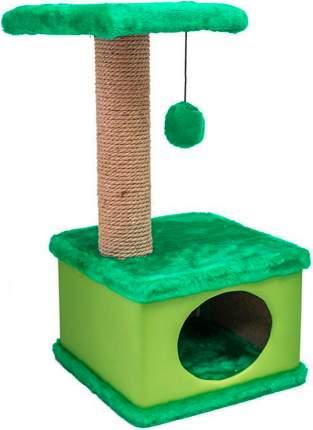 Когтеточка Дарэлл Конфетти, искусственный мех, экокожа, джут, зеленый, 41 х 37 х 70 см