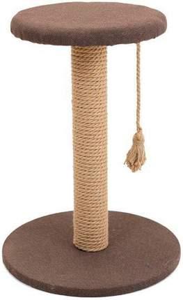 Когтеточка Дарэлл Хайтек, круглая, с полкой, рогожка, джут, 37 х 49 см