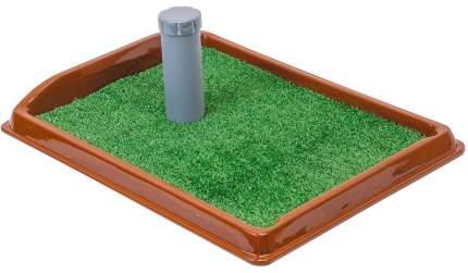 Лоток для собак Дарэлл Рокки со столбиком и искусственной травой,  40x55x