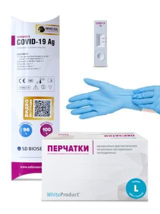 Перчатки р. L 100 шт. Нитрил + Тест на антиген STANDARD Q COVID-19 AG на 1 ч.