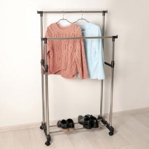 Стойка для одежды с подставкой для обуви, хром, 80х43х90 см