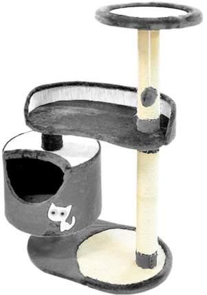 Комплекс для кошек Зооник с круглым домом и двумя лежанками, серый, 82 х 43 х 118 см