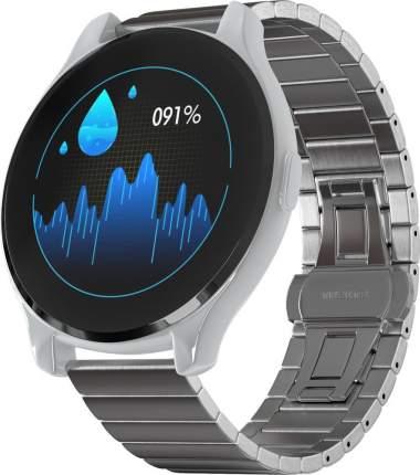 Часы GSMIN WP7 c измерением давления и пульса с серым ремешком сталь (Серебристый)