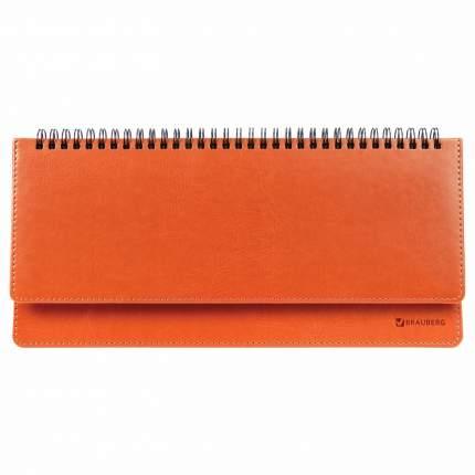 "Планинг настольный Brauberg недатированный, (305*140 мм), ""Rainbow"", кожзам, оранжевый"