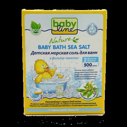 Детская морская соль для ванн Babyline c чередой, 4x500 г