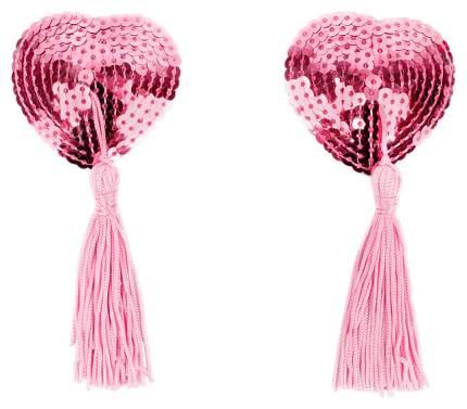 Пэстисы-сердечки с кисточками розовый