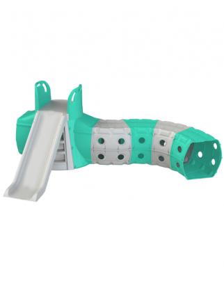 Горка детская Doloni спуск 130 см, с игровым туннелем 2,7х1,8 м, серо-мятный