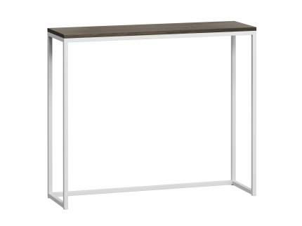 Стол консольный Бервин серый с белым основанием лофт