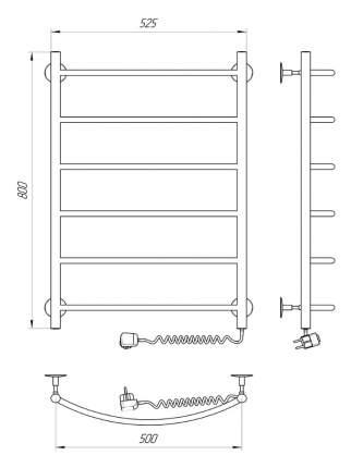 Полотенцесушитель электрический INDIGO Arc 80/50 скрытого подключения справа