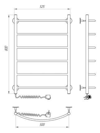 Полотенцесушитель электрический INDIGO Arc 80/50 с возможностью скрытого подключения слева