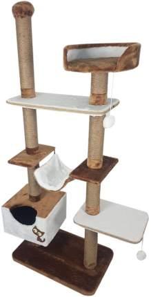 Комплекс для кошек Зооник, коричневый мех/пенька 110 х 47 х 190 см
