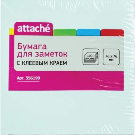 "Блок-кубик с клеевым краем ""Attache"", 76х76 мм, голубой, 100 листов"