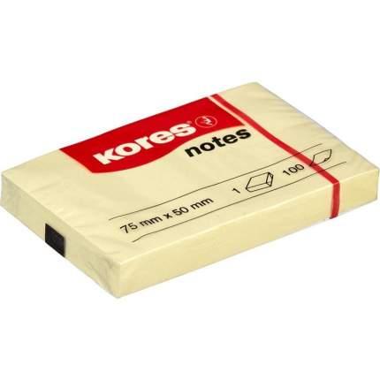 """Блок-кубик """"Kores"""", 75x50 мм, желтый, 100 листов"""