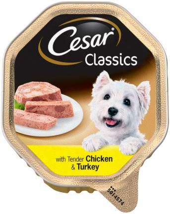 Влажный корм для собак Cesar Classics , паштет, курица, индейка, 14шт, 150г