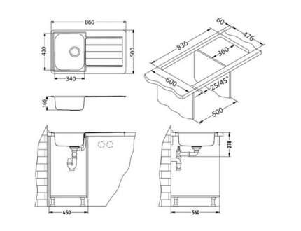 Мойка для кухни из нержавеющей стали ALVEUS LINE 20 LEI-90 1130551