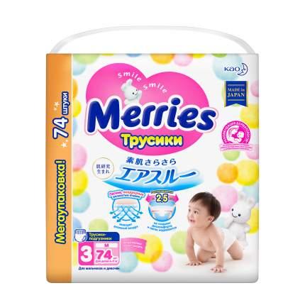 Подгузники-трусики Merries M (6-11 кг), 74 шт.