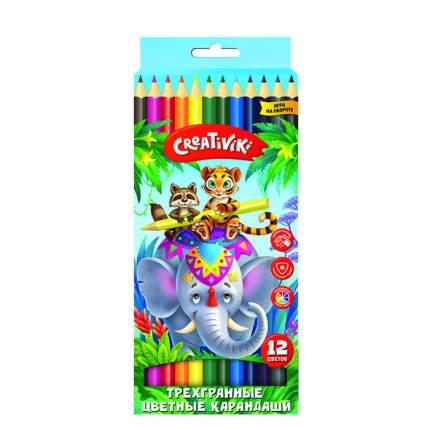 """Карандаши цветные """"Creativiki"""", трехгранные, 12 цветов"""
