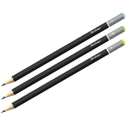 Набор чернографитных карандашей, 3 штуки, H, HB, B, заточенные