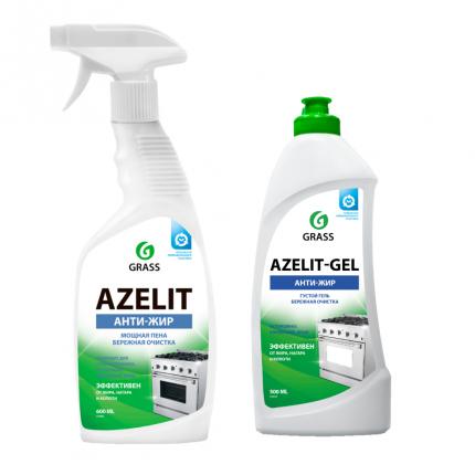 Набор Grass: Чистящее средство для кухни Azelit пена 600 мл  + Azelit гель 500 мл