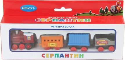 Поезд инерционный, 4 вагона, в ассортименте