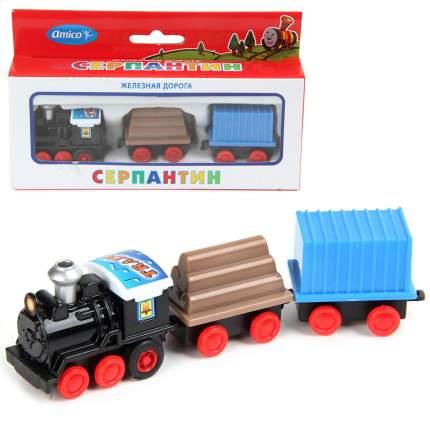 Поезд инерционный, 3 вагона, в ассортименте