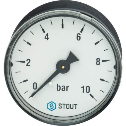 STOUT Манометр аксиальный MDA 50мм 10 бар х 1/4 STOUT SIM-0009-501008