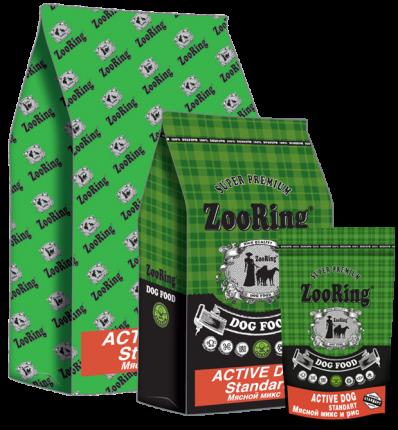 Сухой корм для собак ZooRing Active dog standart 25/13, Мясной микс, говядина, птица, 20кг