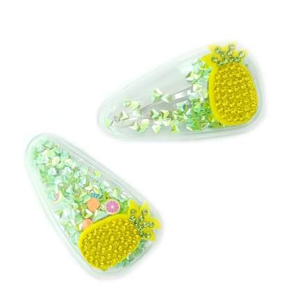 Детских заколоки клик клак для волос 2 шт., ананас с зелеными блестками