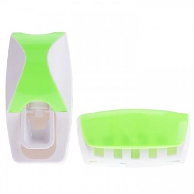 Автоматический дозатор зубной пасты + держатель для щёток (Цвет: Зелёный )