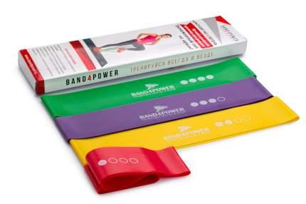 Набор 4 латексных мини-петель для фитнеса minibands, резинки для фитнеса