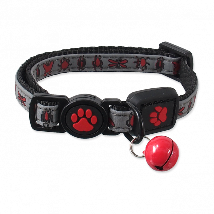 Ошейник для кошек  Magic Cat светоотражающий, XS, красный, 1*19-31cm